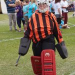 Space Cadet Karen in full hockey goalkeeper kit at Relay for Life Aylesbury 2017